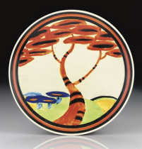CLARICE CLIFF APPLIQUÉ RED TREE A POTTERY PLATE, DESIGNED 1930-31