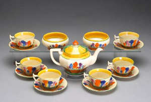 A Clarice Cliff assembled tea set in the 'Crocus' pattern circa 1930