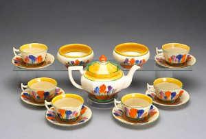 A Clarice Cliff assembled tea set in the 'Crocus' pattern circa 1930