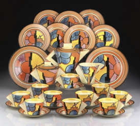 CLARICE CLIFFSUNRAY A POTTERY TEA SERVICE, DESIGNED 1929