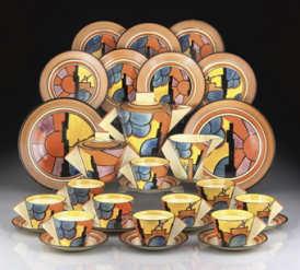 CLARICE CLIFFSUNRAY A POTTERY TEA SERVICE, DESIGNED 1929