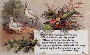 Victorian Christmas Cards Birds and Flowers
