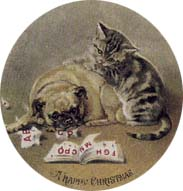 Victorian Christmas Cards Cat and Pug Happy Christmas