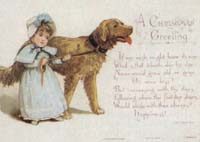 Victorian Christmas Cards Girl and Dog Chirstmas Greeting