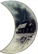 Victorian Christmas Cards Moon Shaped Card