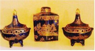 Pair of Wilton Ware pot pourris and Carlton Ware Kang Hsi NANKIN tea caddy