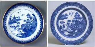Caughley Nankin Willow plate c.1870 and Spode Willow Pattern plate
