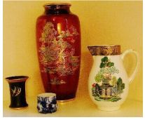 Carlton Ware MIKADO spill vase, Carlton Ware Flow Blue WILLOW vessel Crown Devon Pagoda vase & Carlton Ware WILLOW jug