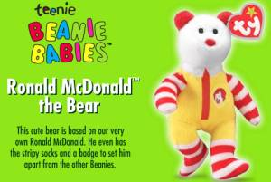 Teenie Beanie Babies at McDonalds UK