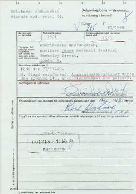 A document relating to Jimi Hendrix's arrest in Sweden