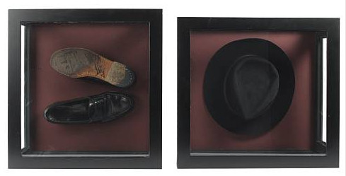 Michael Jackson's trademark black fedora and loafers