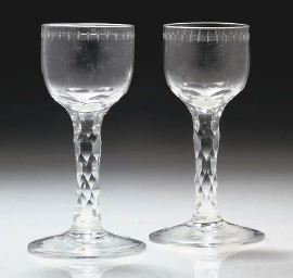 A Pair Of Facet-Stemmed Wine-Glasses